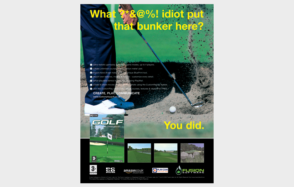 Press advertisement for Fusion Golf