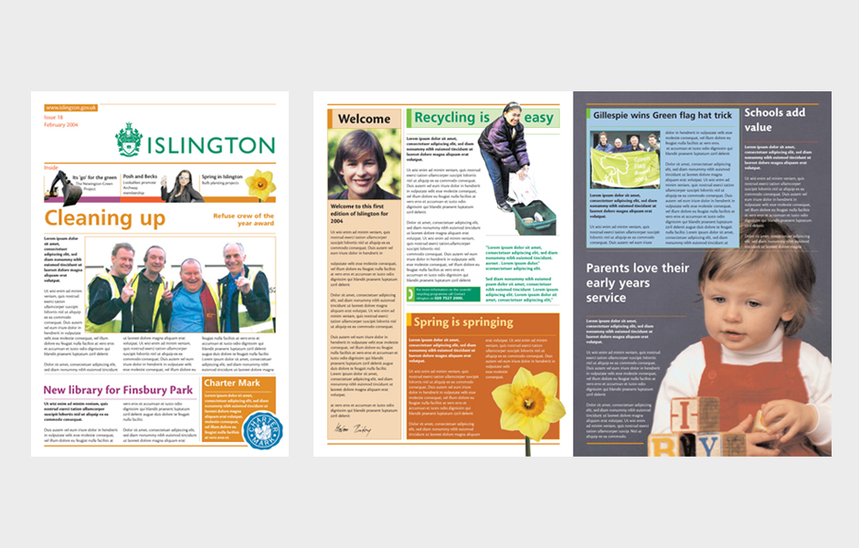 Newsletter for Islington Council - front and spread