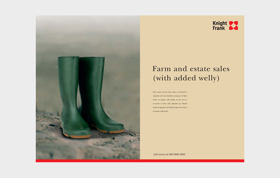 Advertisement for Knight Frank 'Wellies'
