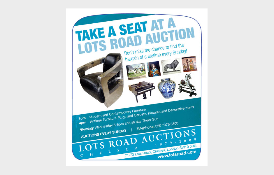 Press advertisement for Lots Road Auctions