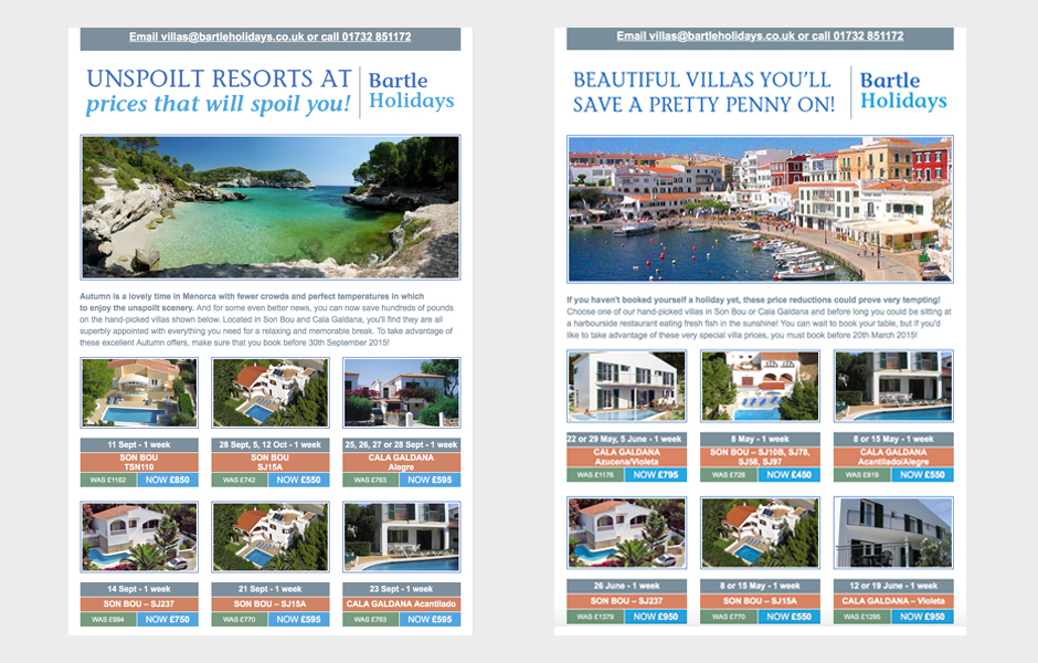 Bartle Holidays – emailers